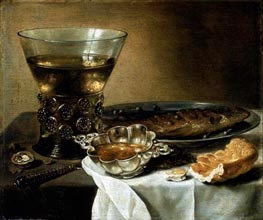 Still Life with Silver Brandy Bowl, Wine Glass, Herring, and Bread, 1642 by Pieter Claesz | Painting Reproduction