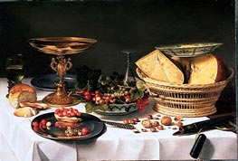 Fruit Still Life with Basket of Cheese, c.1624/25 by Pieter Claesz | Painting Reproduction