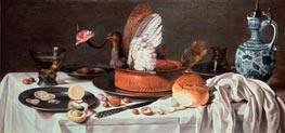 Tabletop Still Life with Pigeon Pie and Delftware Jug, c.1626 by Pieter Claesz | Painting Reproduction