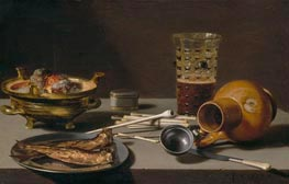 Still Life with Smoking Implements, Herring, and Overturned Jug, 1627 by Pieter Claesz | Painting Reproduction