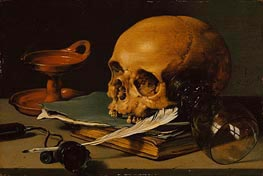Still Life with a Skull and a Writing Quill, 1628 by Pieter Claesz | Painting Reproduction