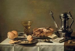 Still Life with Pewter Pitcher, Mince Pie, and Almanac, c.1630 by Pieter Claesz | Painting Reproduction