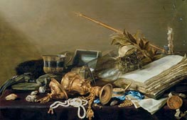 Vanitas Still Life with Overturned Gilded Cup and Chain, c.1630 by Pieter Claesz | Painting Reproduction