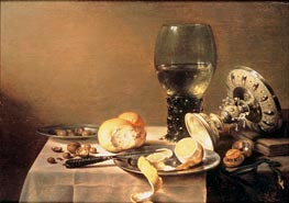 Still Life with Roemer, Tazza and Watch, 1636 by Pieter Claesz | Painting Reproduction
