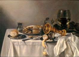 Banquet Piece with Pie, Tazza and Gilded Cup, 1637 by Pieter Claesz | Painting Reproduction