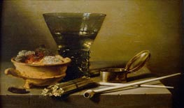Still Life with Smoking Implements and Berkemeyer, 1638 by Pieter Claesz | Painting Reproduction