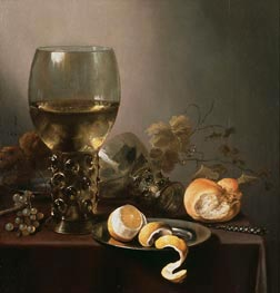 Still Life with Large Roemer, Lemon and Grapes, 1646 by Pieter Claesz | Painting Reproduction