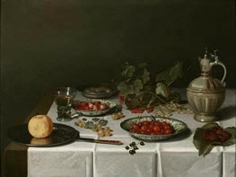 A Breakfast Still Life with Strawberries and Cherries, 1621 by Pieter Claesz | Painting Reproduction