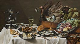 Still Life with Turkey Pie | Pieter Claesz | Gemälde Reproduktion