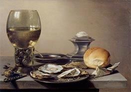 Still Life with Roemer and Oysters, 1642 by Pieter Claesz | Painting Reproduction