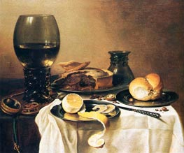 Breakfast Still Life with Roemer, Meat Pie, Lemon and Bread | Pieter Claesz | Painting Reproduction
