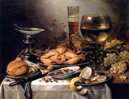 Banquet Still Life with a Crab on a Silver Platter, a Bunch of Grapes, a Bowl of Olives and a Peeled Lemon all Resting on a Draped Table | Pieter Claesz | Painting Reproduction