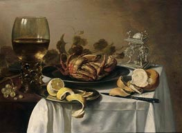 A Still Life with a Roemer, a Crab and a Peeled Lemon on a Pewter Plate, a Bunch of Grapes, a Bun and Knife with an Elaborate Dutch Silver Salt Cellar, on a Draped Table | Pieter Claesz | Painting Reproduction