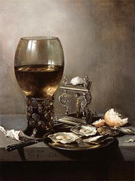 Still Life with Oysters, 1643 by Pieter Claesz | Painting Reproduction