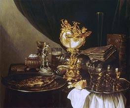 Still Life with a Nautilus Cup, 1645 by Pieter Claesz | Painting Reproduction