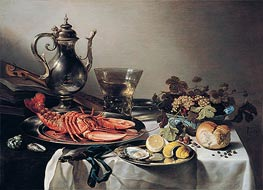 Table with Lobster, Silver Jug, Fruit Bowl, Violin and Books | Pieter Claesz | Painting Reproduction
