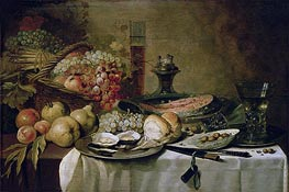 Still Life with Salmon | Pieter Claesz | Painting Reproduction
