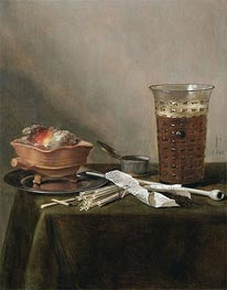 Still Life with a Brazier, a Glass of Beer and a Clay Pipe | Pieter Claesz | Gemälde Reproduktion
