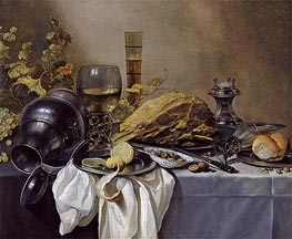 A Still Life with an Overturned Pewter Jug, a Roemer and a Blue Lined Beer Glass, undated by Pieter Claesz | Painting Reproduction
