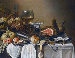 Still Life with a Ham, Fruits, Oysters and Bread, 1651 by Pieter Claesz | Painting Reproduction