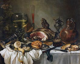 Still Life with a Roemer, Earthenware Jug, Overturned Silver Beaker and a Ham, undated by Pieter Claesz | Painting Reproduction