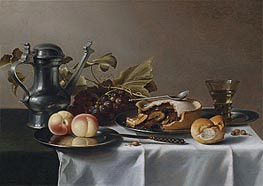 Still Life with Grapes, Pie, Peaches, Pewter Ewer and a Roemer, undated by Pieter Claesz | Painting Reproduction