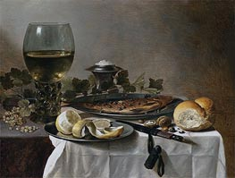 Still Life with Herring, Wine and Bread, 1647 by Pieter Claesz | Painting Reproduction