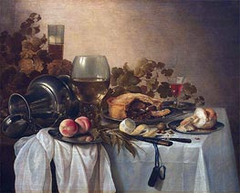 Still Life with Roemer and Pie, undated by Pieter Claesz | Painting Reproduction