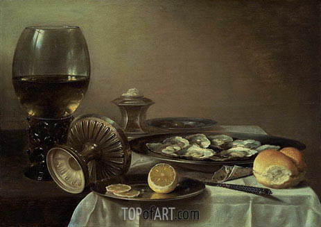 Still Life with Wine Goblet and Oysters, c.1635 | Pieter Claesz | Painting Reproduction