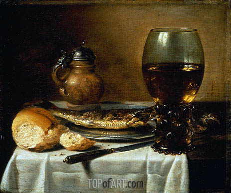 Still Life with Stoneware Jug, Wine Glass, Herring, and Bread, 1642 | Pieter Claesz | Painting Reproduction