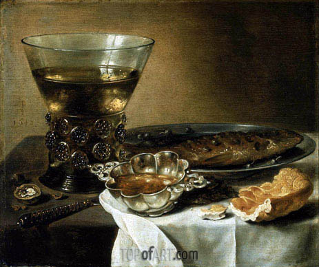 Still Life with Silver Brandy Bowl, Wine Glass, Herring, and Bread, 1642 | Pieter Claesz | Painting Reproduction