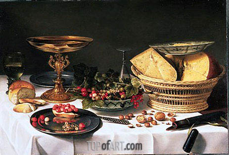Fruit Still Life with Basket of Cheese, c.1624/25 | Pieter Claesz | Painting Reproduction