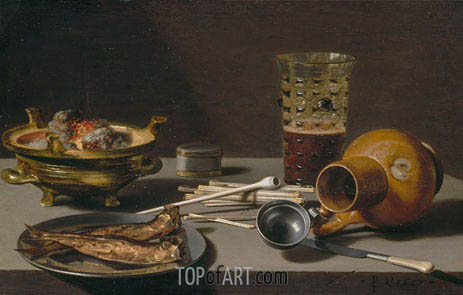 Still Life with Smoking Implements, Herring, and Overturned Jug, 1627 | Pieter Claesz | Painting Reproduction
