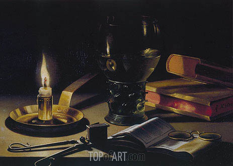 Still Life with Books and Burning Candle, 1627 | Pieter Claesz | Painting Reproduction