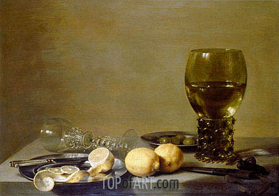 Still Life with Two Lemons, a Facon de Venise Glass, Roemer, Knife and Olives on a Table, 1629 | Pieter Claesz | Painting Reproduction