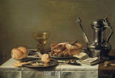 Still Life with Pewter Pitcher, Mince Pie, and Almanac, c.1630 | Pieter Claesz | Painting Reproduction