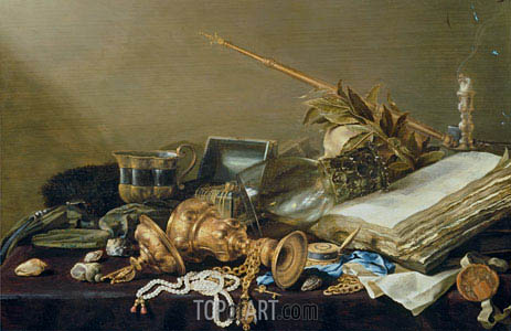 Vanitas Still Life with Overturned Gilded Cup and Chain, c.1630   Pieter Claesz   Painting Reproduction