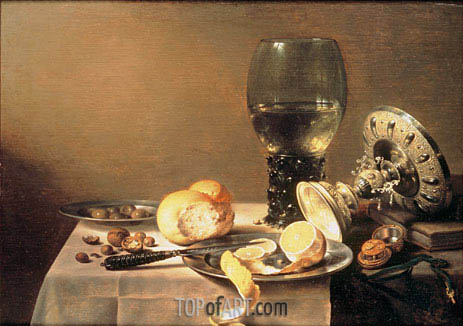 Still Life with Roemer, Tazza and Watch, 1636 | Pieter Claesz | Painting Reproduction