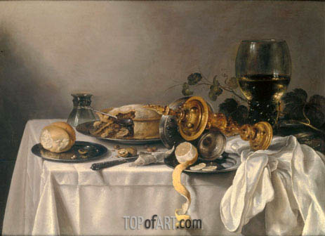 Banquet Piece with Pie, Tazza and Gilded Cup, 1637 | Pieter Claesz | Painting Reproduction