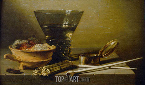 Still Life with Smoking Implements and Berkemeyer, 1638 | Pieter Claesz | Painting Reproduction