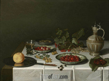 A Breakfast Still Life with Strawberries and Cherries, 1621 | Pieter Claesz | Painting Reproduction