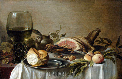 Breakfast with Ham, 1647 | Pieter Claesz | Painting Reproduction