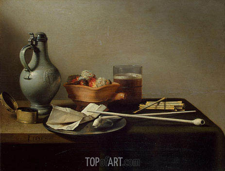 Still Life with Clay Pipes, 1636 | Pieter Claesz | Gemälde Reproduktion
