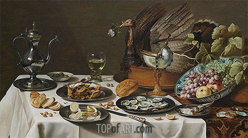 Still Life with Turkey Pie, 1627 | Pieter Claesz | Painting Reproduction