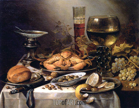 Banquet Still Life with a Crab on a Silver Platter, a Bunch of Grapes, a Bowl of Olives and a Peeled Lemon all Resting on a Draped Table, 1654 | Pieter Claesz | Painting Reproduction