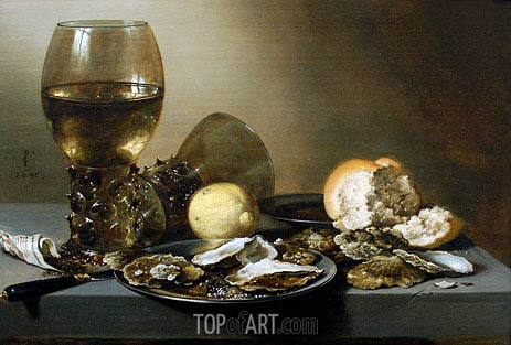 Stil Life with Oysters, 1642 | Pieter Claesz | Gemälde Reproduktion