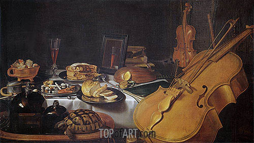 Still Life with Musical Instruments, 1623 | Pieter Claesz | Gemälde Reproduktion