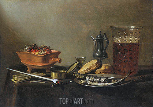 Still Life with Pipe, 1647 | Pieter Claesz | Gemälde Reproduktion
