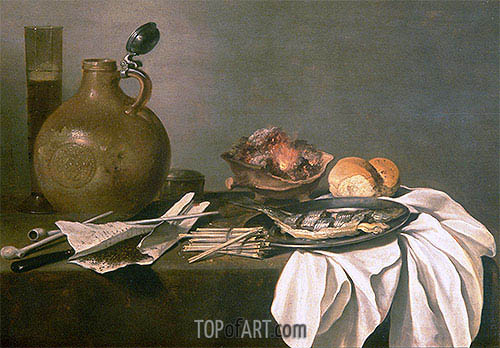 Still Life with Alcohol, Tobacco, Fish and Fire, 1644 | Pieter Claesz | Painting Reproduction