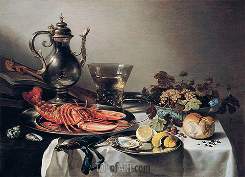 Table with Lobster, Silver Jug, Fruit Bowl, Violin and Books, 1641 | Pieter Claesz | Painting Reproduction